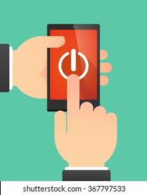 Man hands using a phone showing an off button