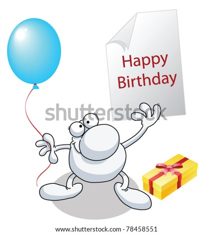 Man With Happy Birthday Greeting Present And Balloon