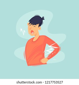 Man has a backache and health. Flat design vector illustration