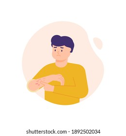 a man has a rash on the hands and itching on the hands, developing red patches. illustration of a person scratching his arm. the expression on the face of an uncomfortable person. flat style. vector
