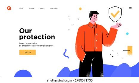 Man has slide presentation. Template or website landing page design. Business concept illustration. Modern flat outline style. Online media. Security concept.