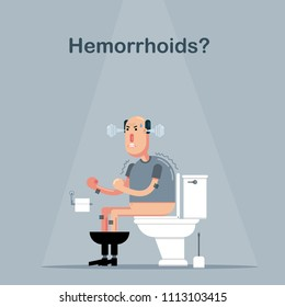 Man has trouble with defecation because of hemorrhoids piles medical health problem. He can't go to the toilet properly and retches. This makes him angry and upset. Cartoon flat vector illustration.