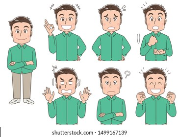 A man has various expressions