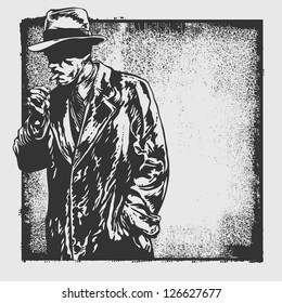 man in hat and abstract drawing background and grunge frame. vector illustration. drawing style.