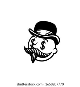 A man in a hat with a mustache. Can be used as tatoo