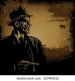 man in a hat with a pistol and grunge scratched background. vector illustration.