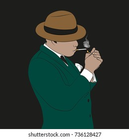 A man in a hat smokes a cigarette