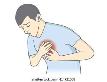 Man have early symptoms of heart attack. Healthcare and medical illustration.