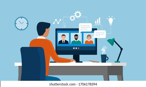 Man having a conference call with his business team online, telecommuting, remote work and business communications concept
