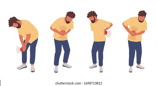 Man having different types of pain. Vector hand drawn character illustration. Set of illustrations with a man touching his knee, belly, back, side.