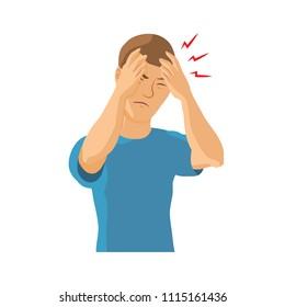 Man having headache, migraine. Vector illustration.