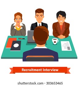 Man having a job Interview with HR specialists and a boss. Flat style vector illustration isolated on white background.