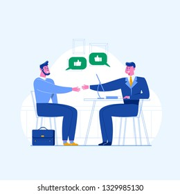 A man is having a job interview. Jobseeker and employer sit at the table and talk. Good impression. Simple concept with the working situation, recruitment or hiring.
