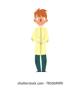 Man having mental disorder, standing in strait jacket, psychiatric patient, cartoon vector illustration isolated on white background. Young man with mental disease standing in straitjacket