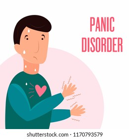 Man having panic attack. Health problem. Panic disorder illustration, sweating, trembling. breathing difficulties