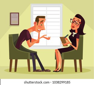 Man having psychologist consultation. Vector flat cartoon illustration