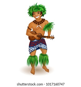 A man in Hawaiian clothes with a ukulele in his hands. Holidays in the Hawaiian Islands. Vector illustration. Funny character in the style of a cartoon.