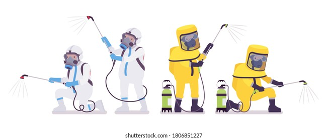 Man in hazmat clothing, disposable coverall with manual pump sprayer. Workers in level A, C suit, chemical resistant gloves, hooded apparel, breathing apparatus. Vector flat style cartoon illustration