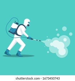Man in hazmat. Protective suit, gas mask and gas cylinder for disinfection coronavirus. Toxic and chemicals protection. Spraying pesticides. Biological precaution. Vector illustration flat design.