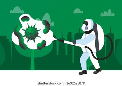 man in hazmat suit cleaning and disinfecting coronavirus cells epidemic MERS-CoV virus disinfect protection concept wuhan 2019-nCoV pandemic health risk full length cityscape horizontal vector