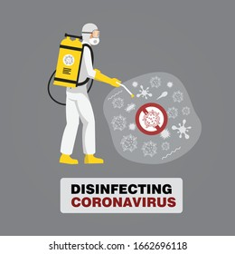 man in hazmat suit cleaning and disinfecting coronavirus cells epidemic mers-CoV virus disinfect protection concept wuhan 2019-nCoV pandemic health risk. disinfecting  bacteria virus