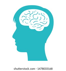 Man head with brain silhouette vector