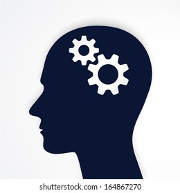 Man head with gears  Human head thinking. Vector.