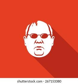 Man head in glasses icon. Vector Illustration