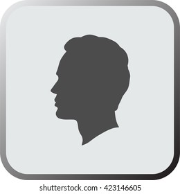 Man head icon, button, isolated on a grey background. Vector.