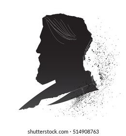 Man head inky silhouette. Vintage handcrafted male profile