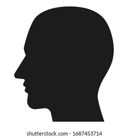 Man head isolated black silhouette. Vector pictogram. Company logotype design element.