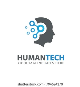 Man Head logo. Abstraction of thinking mind. This image serves as idea of technology, mind, working think, memory training, brain system, psychology, knowledge and research.