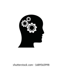 Man head mind thinking vector icon, Human head with cogwheel, Creative thinking symbol