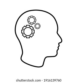 Man head mind thinking vector icon color editable