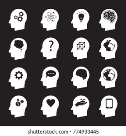 Man head mind thinking vector icon set, ecology, money, connection, love and others white illustrations on black background
