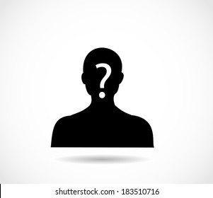 Man head and shoulders silhouette with excalmation mark vector