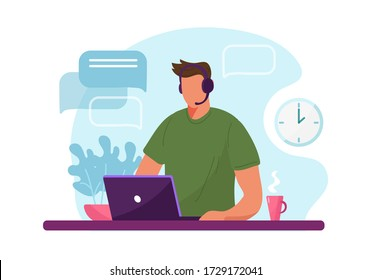 Man with headphone and computer, call center, customer service and support. Flat vector illustration concept of distance work, distance education