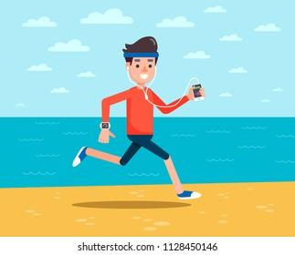 Man with headphones jogging on the beach. Man running along the seashore. Fit man enjoying jogging on beach. Vector flat design illustration