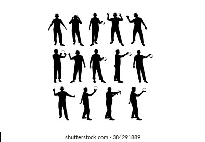 Man with headphones silhouettes vector illustration