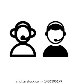 Man with headset icon vector As Call center, costumer service, agent support icon can be used for web, business card, mobile app, etc.