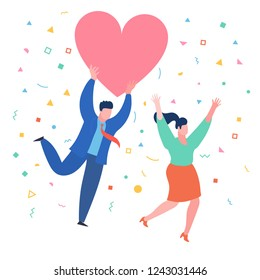 A man with a heart in his hands pursuit a woman. Valenine day. Love and relationship. Flat design, vector illustration.