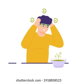 a man held his head because he felt dizzy and nauseous as a result of drinking the soup that had expired. illustration of a person with food poisoning. flat style. vector design elements