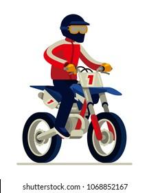 Man in helmet riding motocross vector illustration
