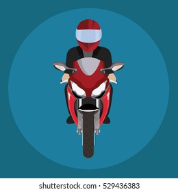 Man in a helmet riding motorcycle. Front view.
