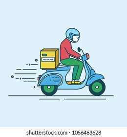Man in helmet riding scooter with carton box with products from grocery store, shop or supermarket. Food delivery service worker or courier. Colored vector illustration in modern line art style.