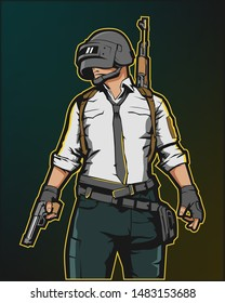 Man in a helmet with a weapon, PUBG playerunknown's battlegrounds, vector illustration