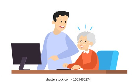 Man help old woman working on computer. Idea of modern technology and internet. Elderly person learning. Isolated flat vector illustration