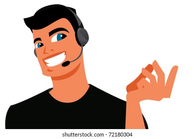 Man helping a client on the phone.Vector illustration on white background