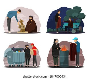 Man helping poor homeless people set. Poverty and charity vector illustration. Guy giving food, clothes, money to beggars in poverty. Social inequality in society. Volunteer workers.