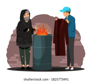 Man helping poor homeless person with clothes. Poverty and charity vector illustration. Guy giving coat to beggar in poverty near fire. Social inequality in society. Volunteer worker.